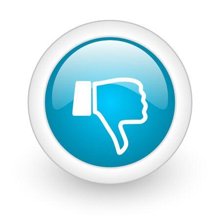 thumb down blue circle glossy web icon on white background Stock Photo - 17770451