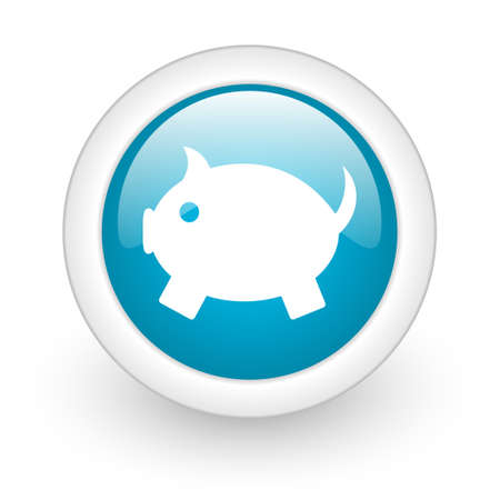piggy bank blue circle glossy web icon on white background  photo