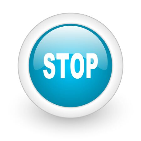 proscribed: stop blue circle glossy web icon on white background