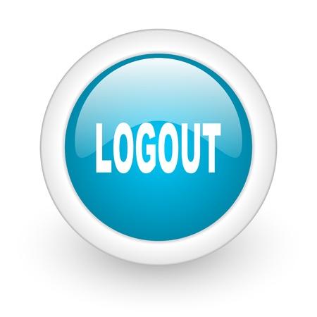 logout blue circle glossy web icon on white background  photo
