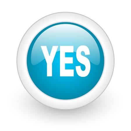 yes blue circle glossy web icon on white background Stock Photo - 17770375