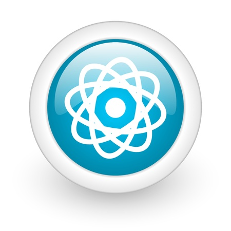 atom blue circle glossy web icon on white background  photo