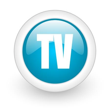 tv blue circle glossy web icon on white background Stock Photo - 17770271