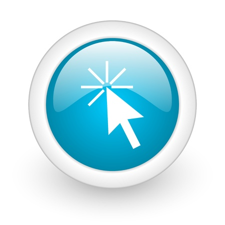 click here blue circle glossy web icon on white background Stock Photo - 17770452