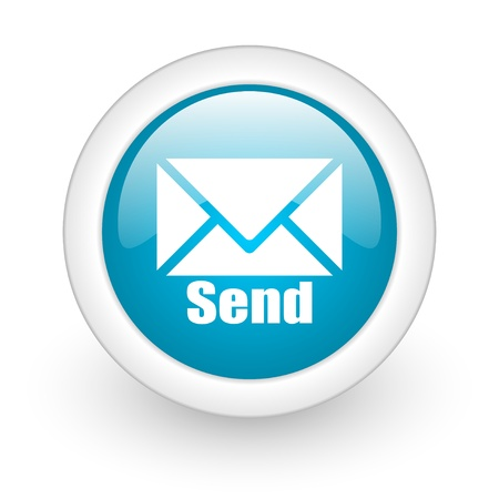 send blue circle glossy web icon on white background  photo