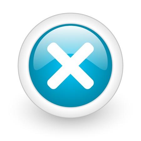 cancel blue circle glossy web icon on white background Stock Photo - 17770356