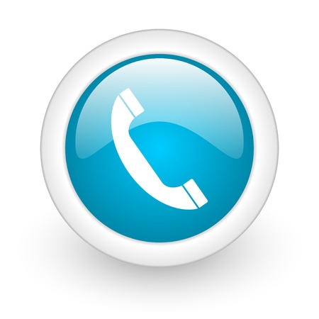 contact us icon: phone blue circle glossy web icon on white background