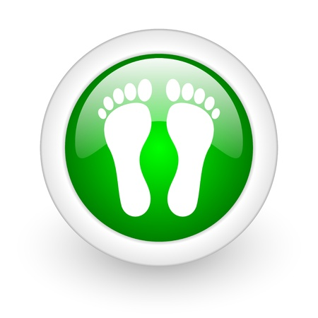 footprint green circle glossy web icon on white background Stock Photo - 17864846