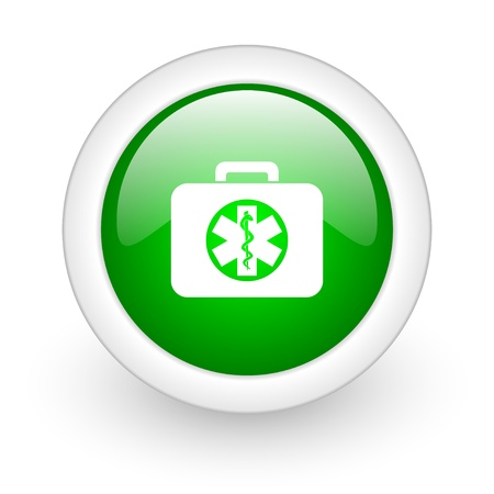 rescue kit green circle glossy web icon on white background  photo