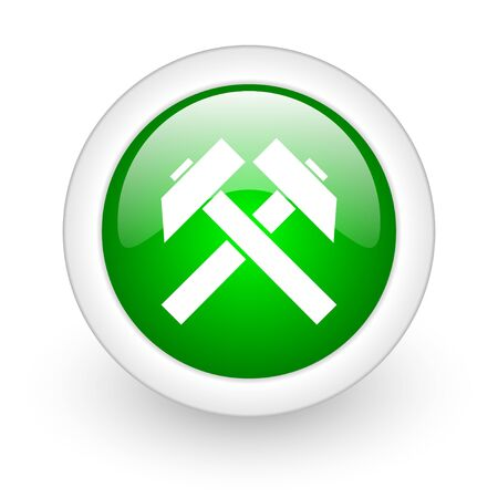 mining green circle glossy web icon on white background  photo