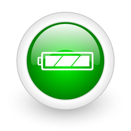 accuse: battery green circle glossy web icon on white background