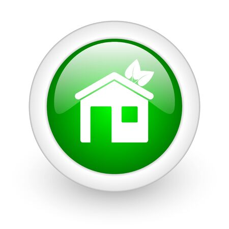 home green circle glossy web icon on white background  photo