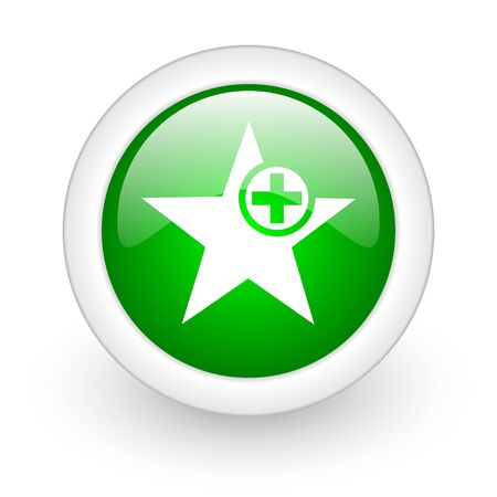 star green circle glossy web icon on white background Stock Photo - 17864982