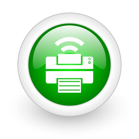 print green circle glossy web icon on white background  photo