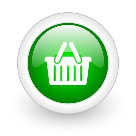 shopping cart green circle glossy web icon on white background Stock Photo - 17865050