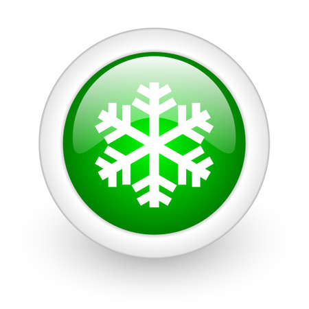 snowflake green circle glossy web icon on white background