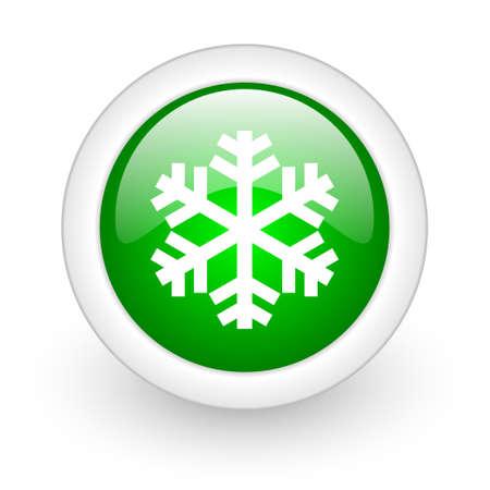 snowflake green circle glossy web icon on white background Stock Photo - 17865360