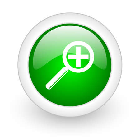 magnification icon: magnification green circle glossy web icon on white background