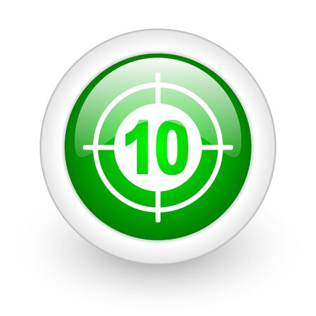 target green circle glossy web icon on white background Stock Photo - 17865367