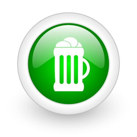 beer green circle glossy web icon on white background Stock Photo - 17864946