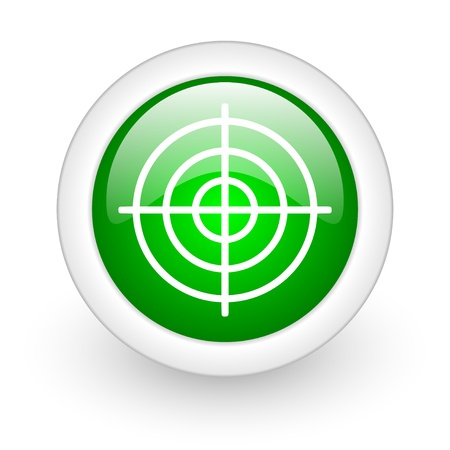 target green circle glossy web icon on white background Stock Photo - 17865404