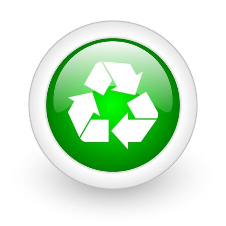 recycle green circle glossy web icon on white background Stock Photo - 17864950