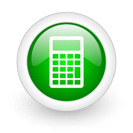 calculator green circle glossy web icon on white background Stock Photo - 17865169