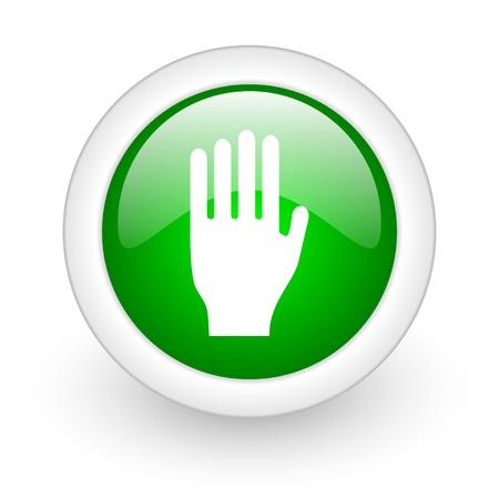 stop green circle glossy web icon on white background Stock Photo - 17864690