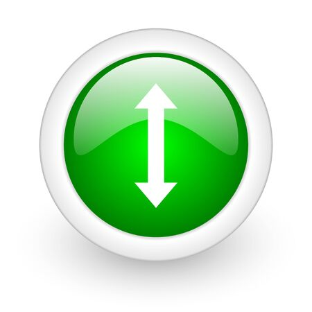 sterring: arrows green circle glossy web icon on white background