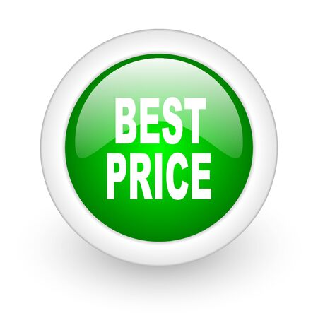 best price green circle glossy web icon on white background Stock Photo - 17865250