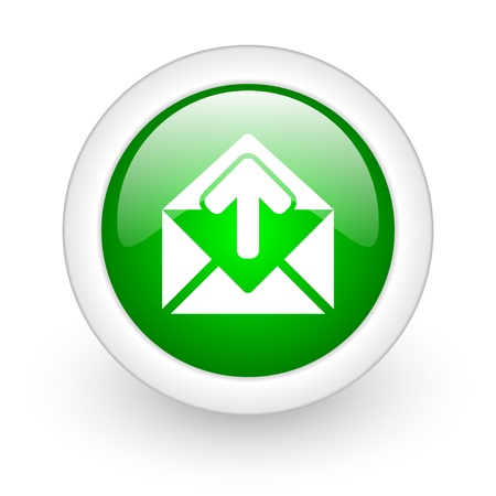 mail green circle glossy web icon on white background  photo