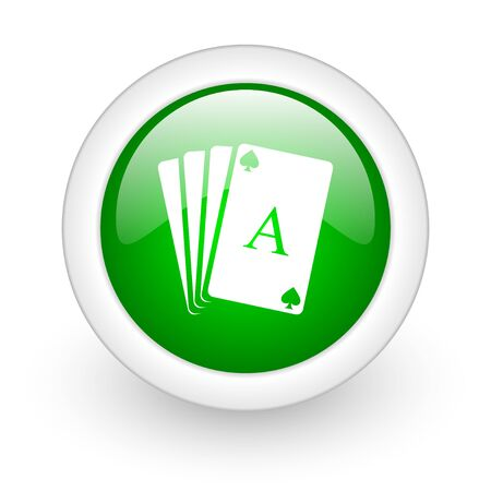 playing cards green circle glossy web icon on white background