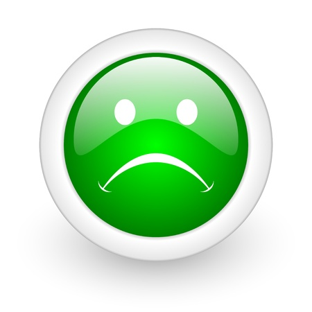 cry green circle glossy web icon on white background Stock Photo - 17865049