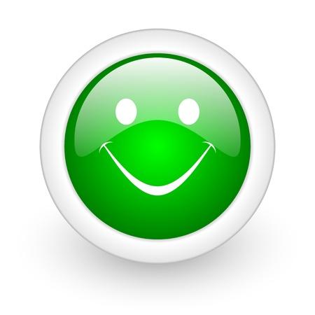 smile green circle glossy web icon on white background Stock Photo - 17865127
