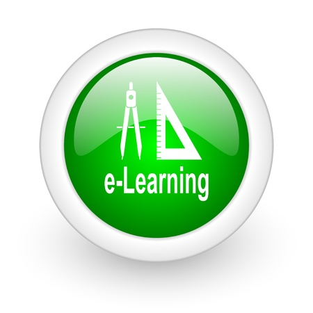 e-learning green circle glossy web icon on white background  photo