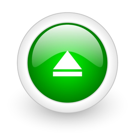 eject green circle glossy web icon on white background Stock Photo - 17864721