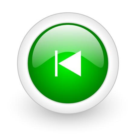 prev green circle glossy web icon on white background Stock Photo - 17864794