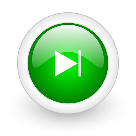 next green circle glossy web icon on white background Stock Photo - 17864796