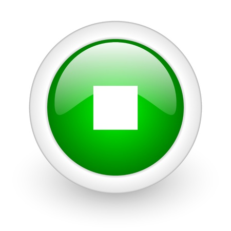 stop green circle glossy web icon on white background Stock Photo - 17864685
