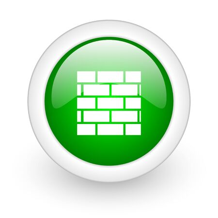 firewall green circle glossy web icon on white background  photo