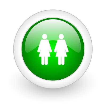 couple green circle glossy web icon on white background  photo