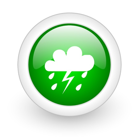weather forecast green circle glossy web icon on white background  photo