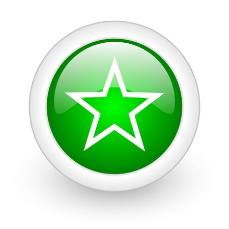 star green circle glossy web icon on white background