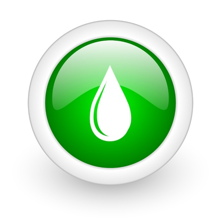 water drop green circle glossy web icon on white background Stock Photo - 17864876