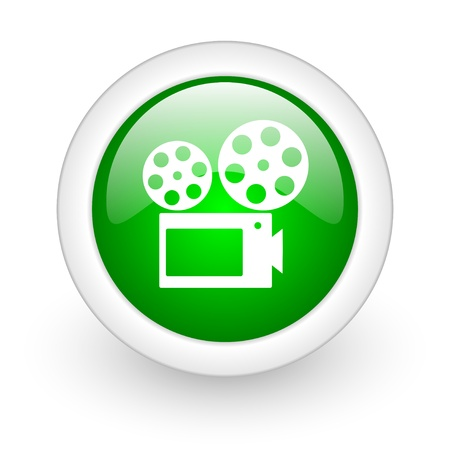 cinema green circle glossy web icon on white background  photo