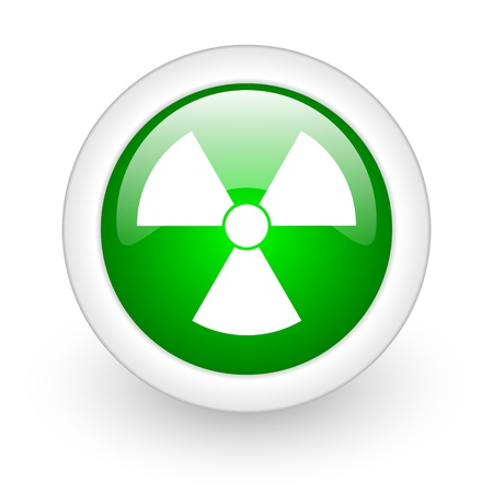 radiation green circle glossy web icon on white background