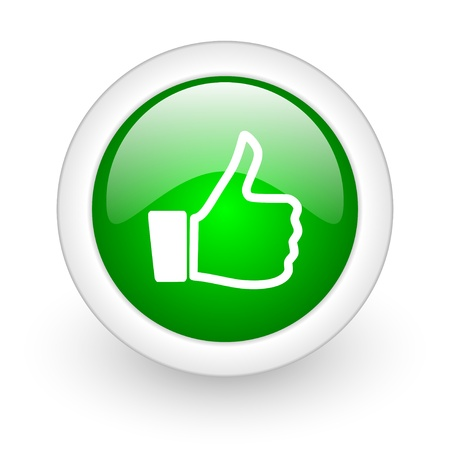 thumb up green circle glossy web icon on white background Stock Photo - 17865137
