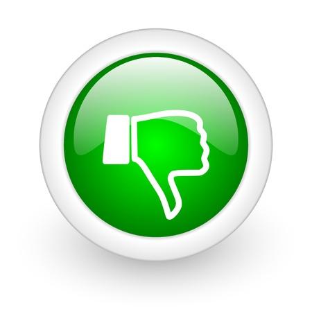 thumb down green circle glossy web icon on white background  Stock Photo