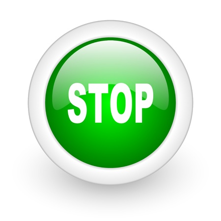 stop green circle glossy web icon on white background Stock Photo - 17864937
