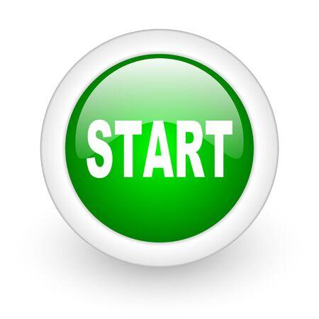 start green circle glossy web icon on white background Stock Photo - 17865025